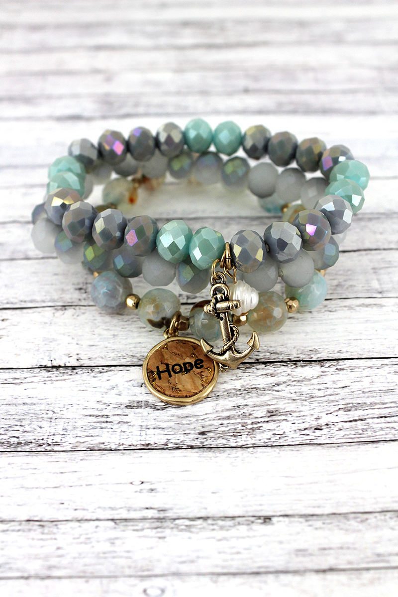 Cork 'Hope' and Anchor Charm Iridescent Green Beaded Bracelet Set