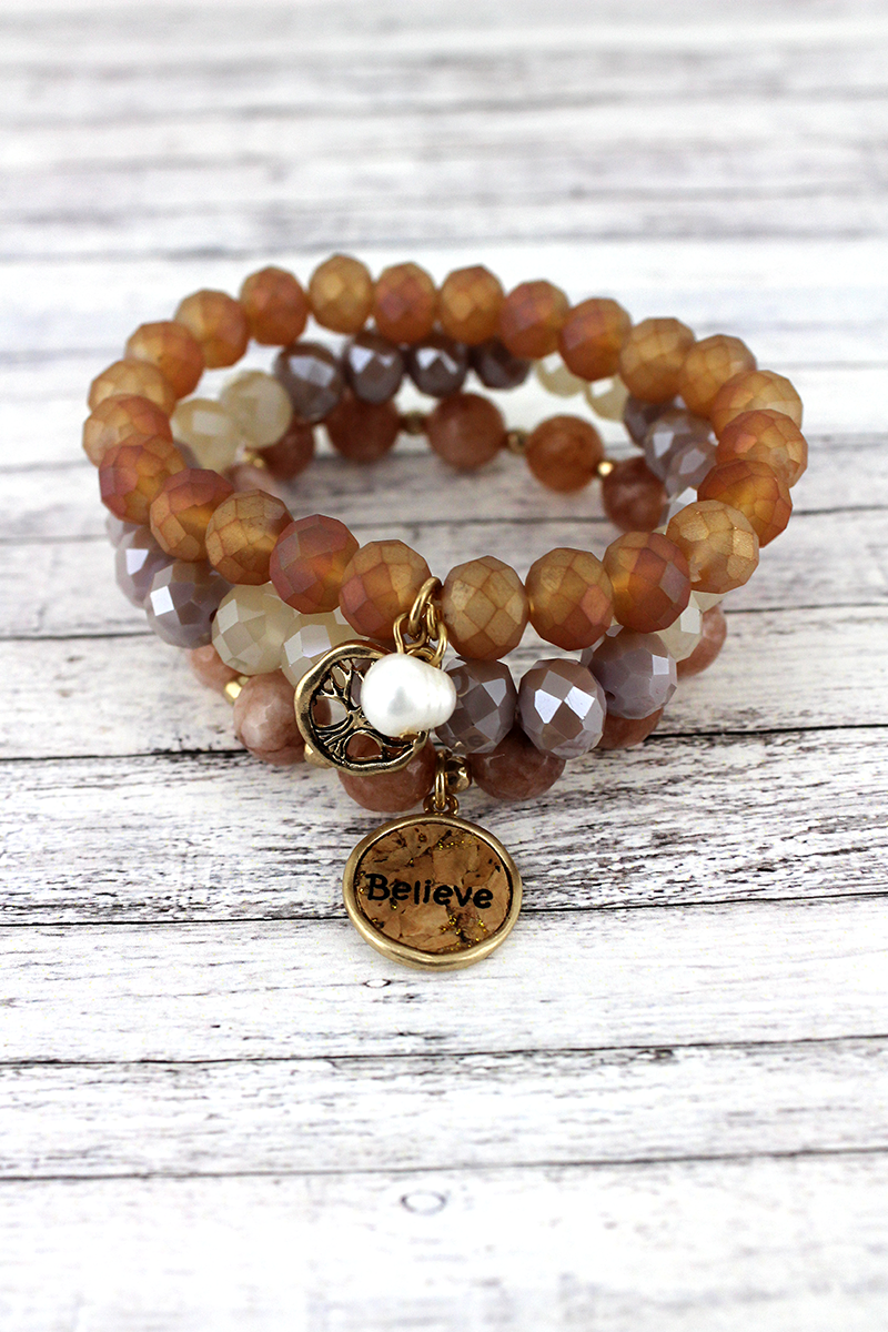 Cork 'Believe' and Tree of Life Charm Peach Beaded Bracelet Set