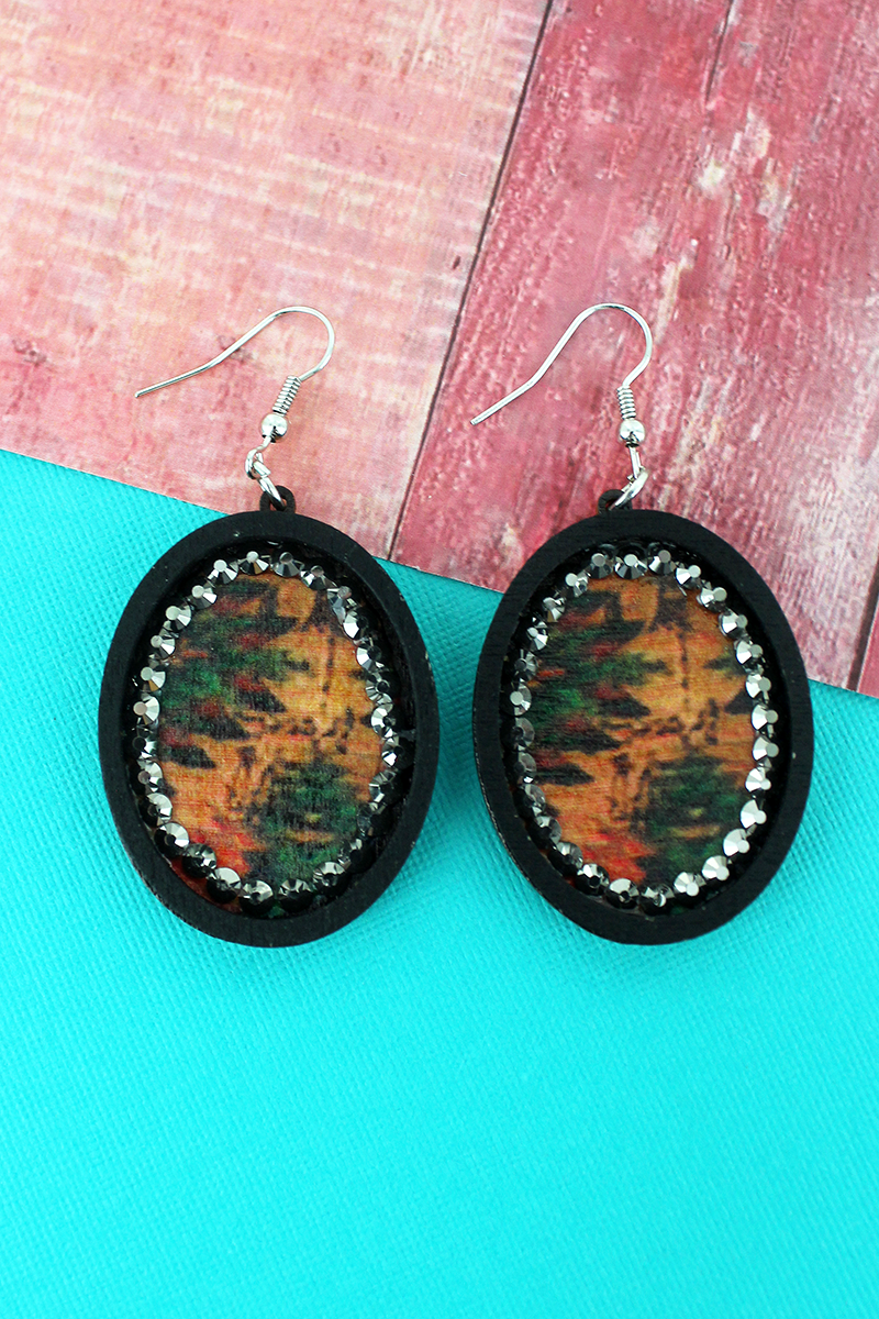 Black Wood and Crystal Trimmed Southwestern Oval Earrings