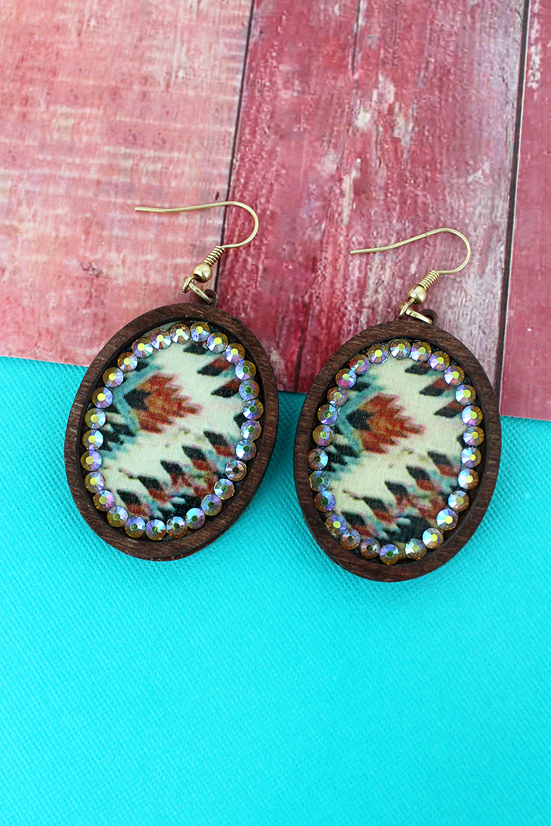 Brown Wood and Crystal Trimmed Southwestern Oval Earrings
