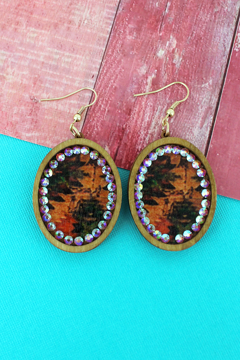 Light Brown Wood and Crystal Trimmed Southwestern Oval Earrings