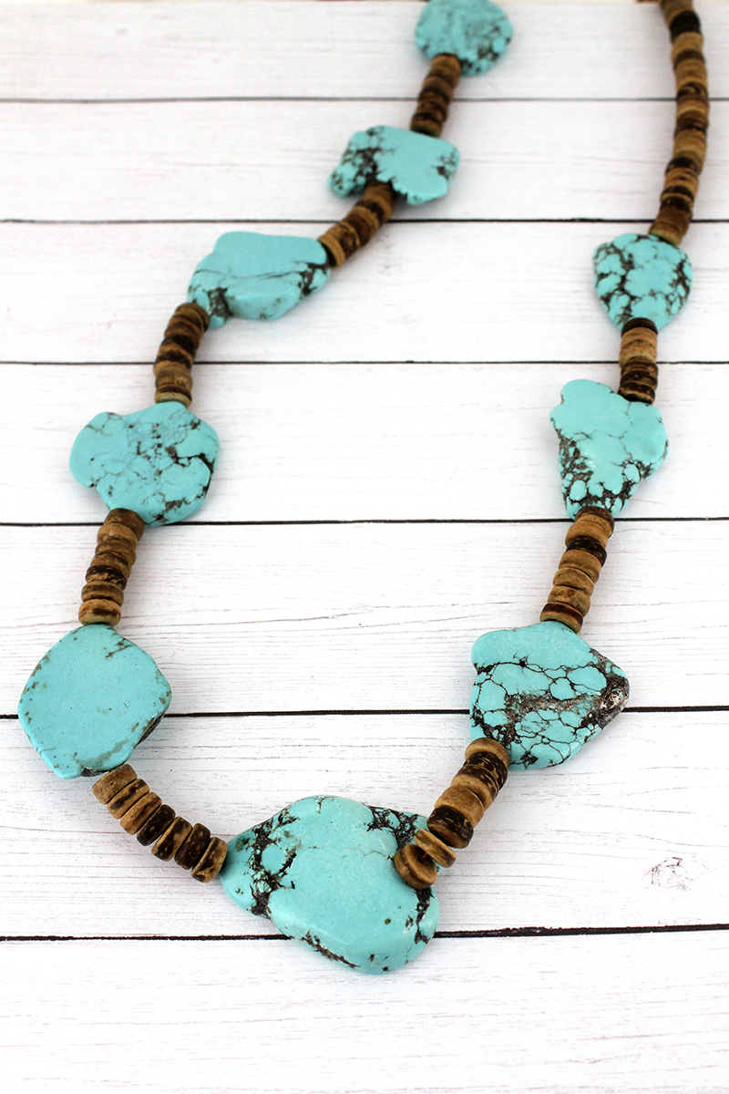Chunky Turquoise Stone and Wood Disk Beaded Necklace