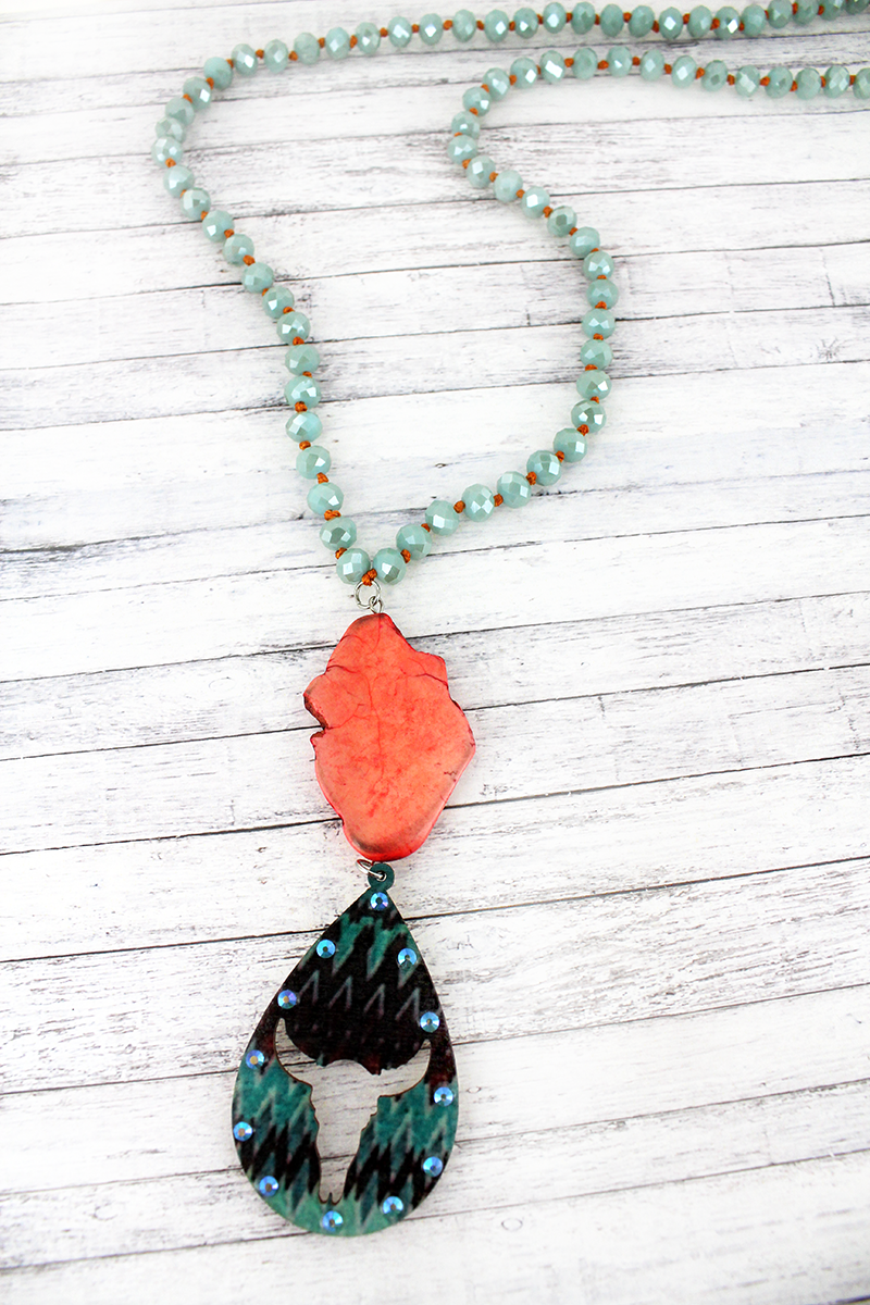 Orange Stone and Cut-Out Steer Teardrop Pendant Beaded Necklace