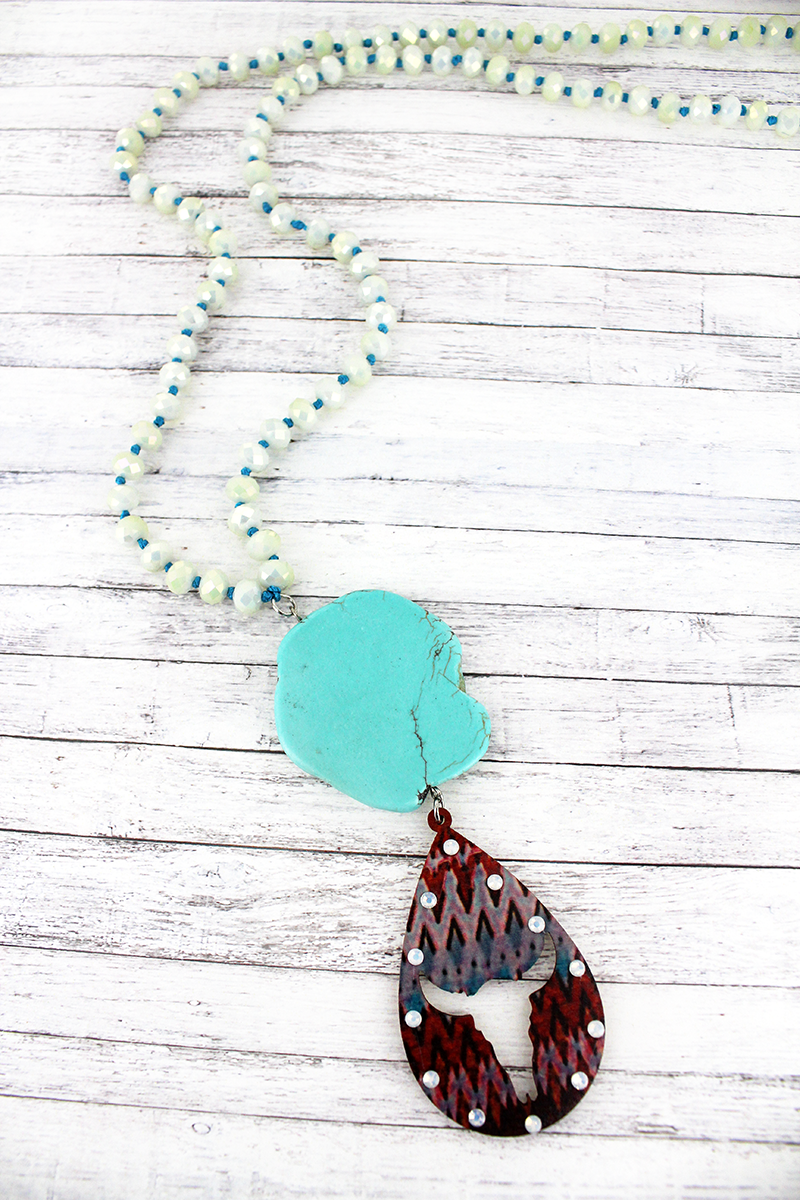 Turquoise Stone and Cut-Out Steer Teardrop Pendant Beaded Necklace
