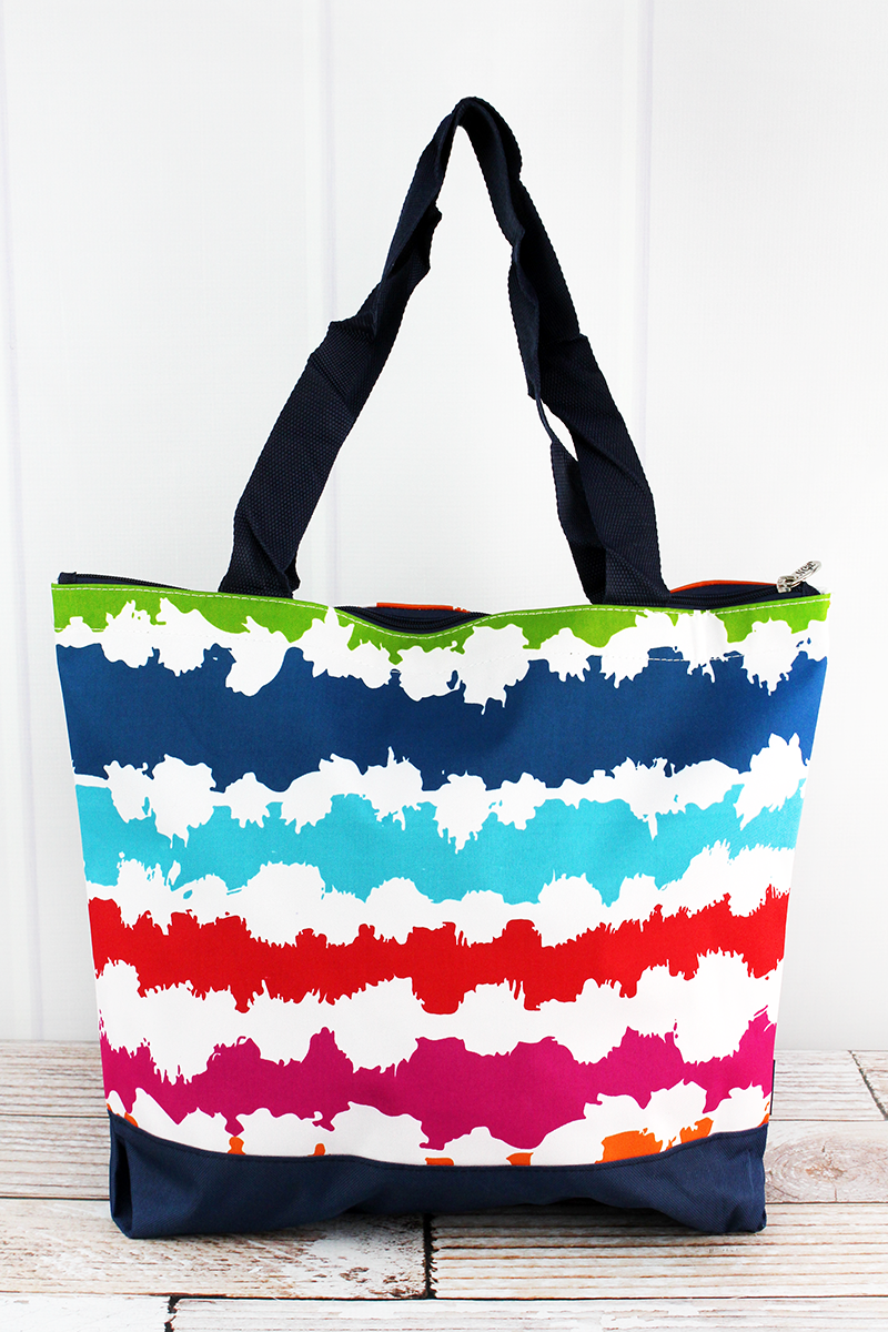 NGIL Summer Vibes with Navy Trim Tote Bag