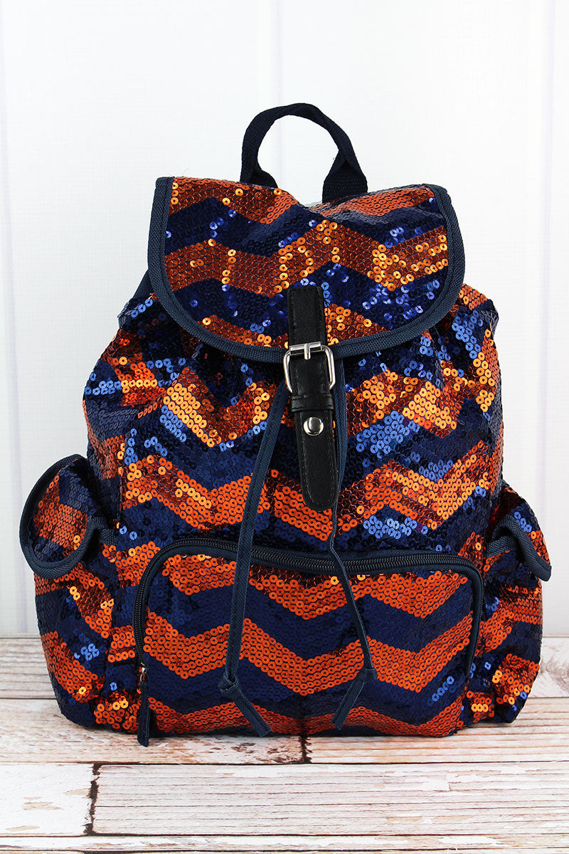SALE! NGIL Navy and Orange Sequined Chevron Drawstring Backpack