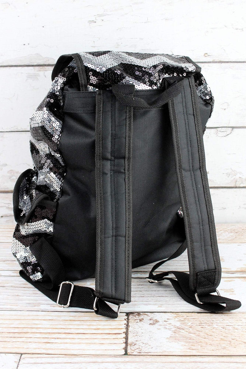 NGIL Black Sequined Chevron Large Drawstring Backpack