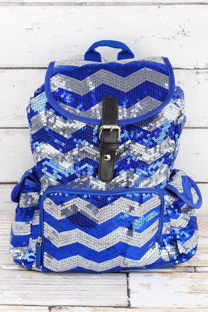 NGIL Royal Sequined Chevron Large Drawstring Backpack