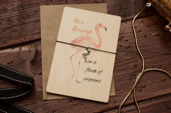 Printed Wooden Wish Bracelet Flamingo DD167