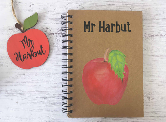 Kraft Lined Notepad -  Apple Teacher's Name  - DD675