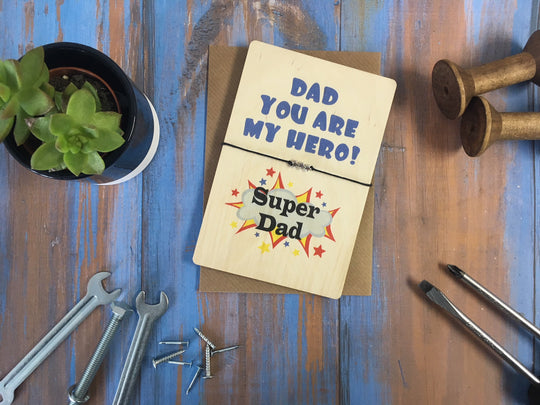 Printed Wooden Wish Bracelet - Dad You Are My Hero - DD429
