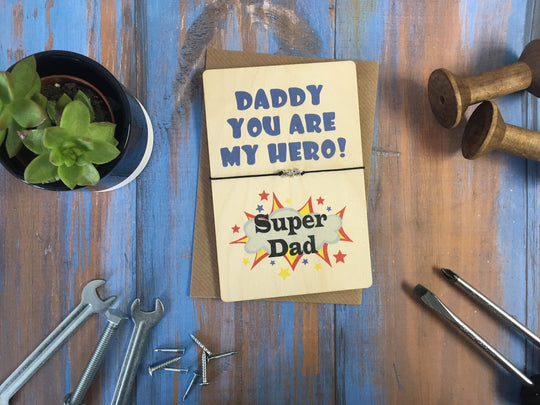 Printed Wooden Wish Bracelet - Daddy You Are My Hero - DD430