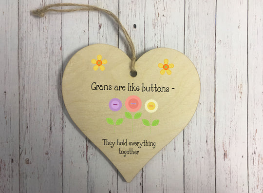 Wooden Hanging Heart - Grans Are Like Buttons DD343