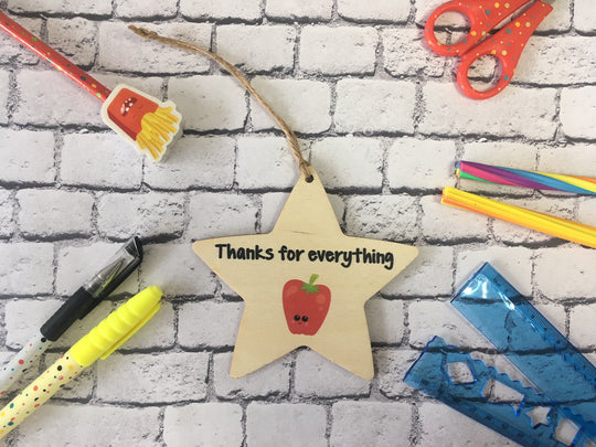 Wooden Hanging Star - Thanks For Everything Apple DD219