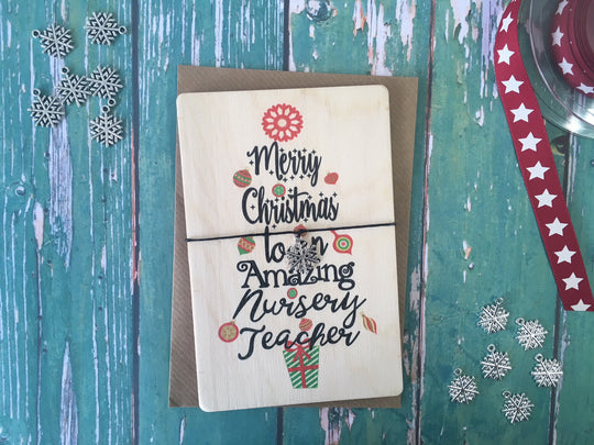 Wooden Wish Bracelet - Christmas Tree Nursery Teacher - DD193