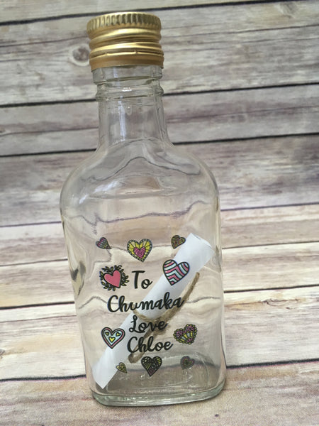 Printed Glass Bottle with screw top lid DD274