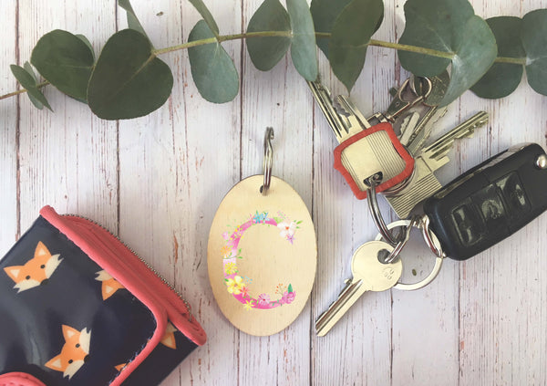 Wooden Keyring - Personalised Initial DD247
