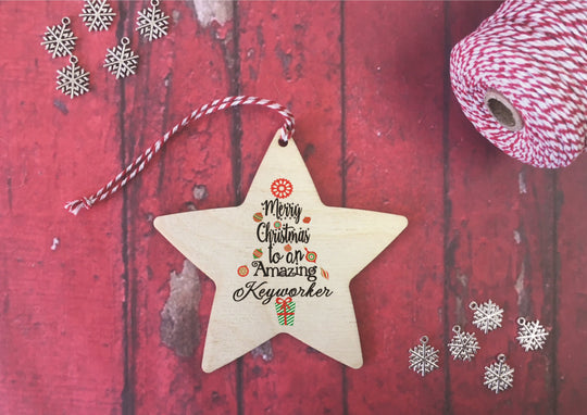 Hanging Star - Merry Christmas to an Amazing Keyworker DD234