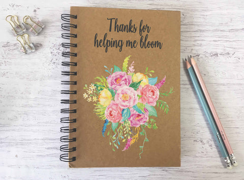 Kraft Lined Notepad -  Thanks for Helping Me Bloom  - DD691