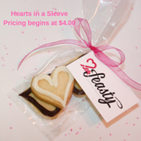 mini dark chocolate cookie hearts and white chocolate heart shaped cookie favors