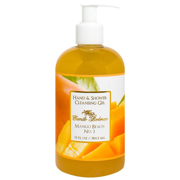 Hand and Shower Cleansing Gel 13oz Mango Beach No.2 (6/case) Pump Soap Camille Beckman