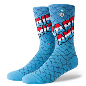Stance Marvel Captain America Socks - Blue Size 9 -12 SURF WORLD