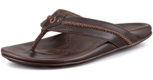 Olukai Mea Ola Men's Dark Java / Dark Java Leather Sandals SURF WORLD