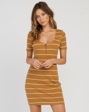RVCA Donner Striped Knit Dress - Beeswax SURF WORLD