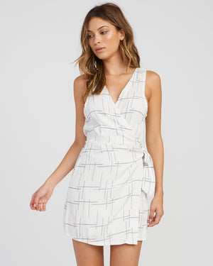 RVCA Crossed Off Wrap Dress - Vintage White SURF WORLD