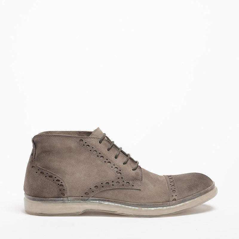 Owen Laced Mid Shoes suede leather perla_grey