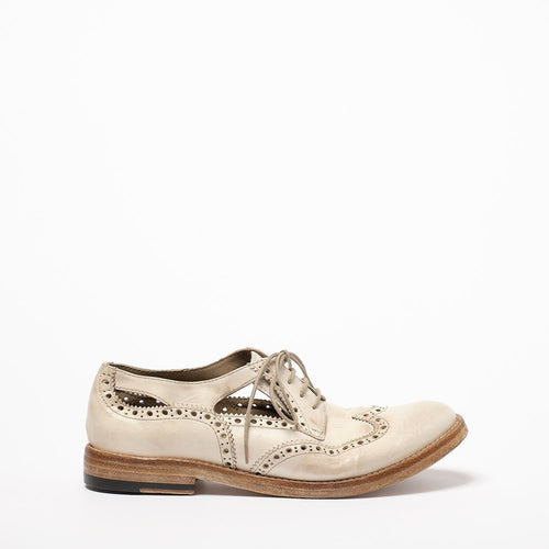 Madeline Laced side open Shoes natural vacchetta leather ivory