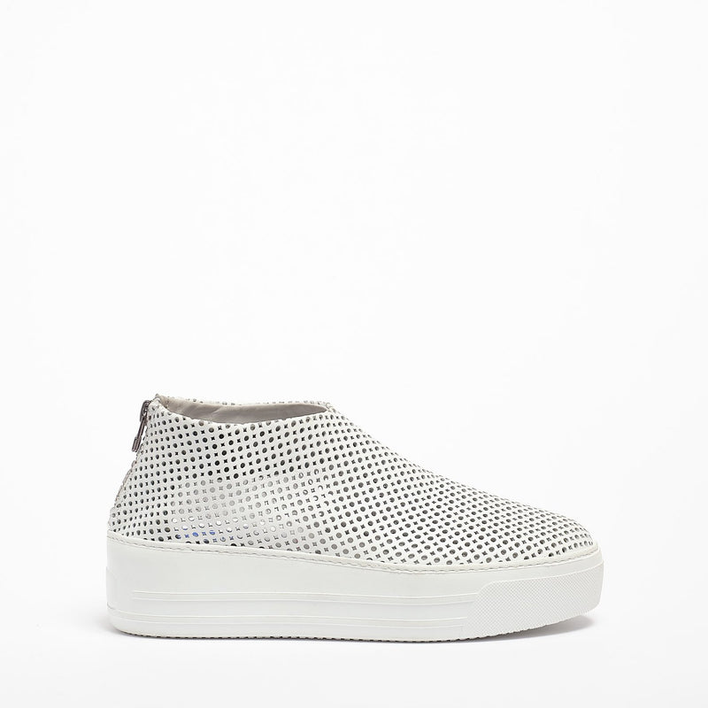 Jodie Back zip Shoes soft perforated leather white
