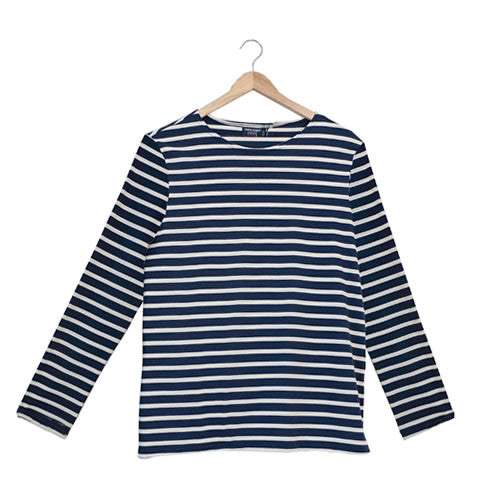 Saint James - French Breton Minquiers Moderne stripe shirt 9858 marine/ecru