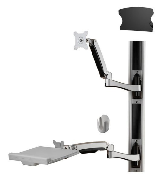 Sit-Stand Combo Workstation Wall Mount System with Extended Display Arm - AMR1AWSV3