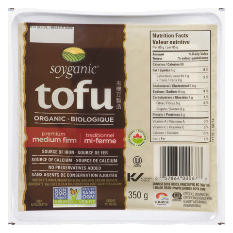 Soyganic Organic Tofu Medium Firm 350g