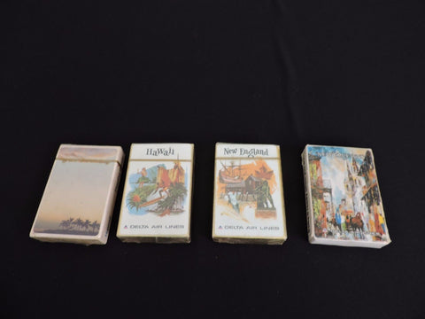 Lot 4 Delta Air Lines Vintage Playing Cards New England Hawaii Travel 3 sealed
