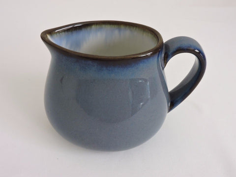 Sango Blue with Brown Rim Creamer Visions Eggplant Pattern for Tea or Coffee