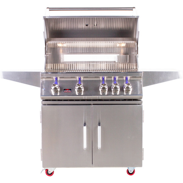 Bonfire 34 inch 4 Burners Grill on cart  with rotisserie kit - M&K Grills
