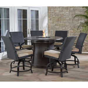 Hanover 5pc High Fire Pit Set 6 Swivel Chairs 48-Inch Round Cast Top Fire Pit Tbl - M&K Grills