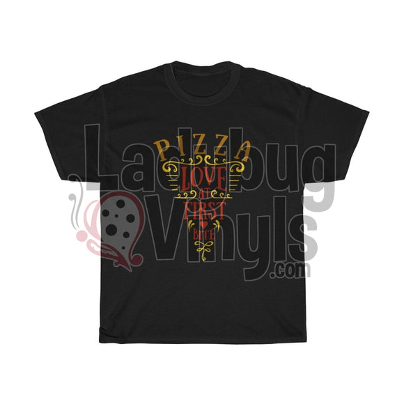Pizza Love At First Bite Mens T-Shirt Black / L