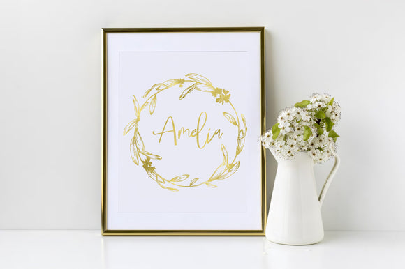 Wreath Personalised Name Gold Foil Print