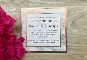 Rose Gold Foil Marble Printed Wedding Invitation