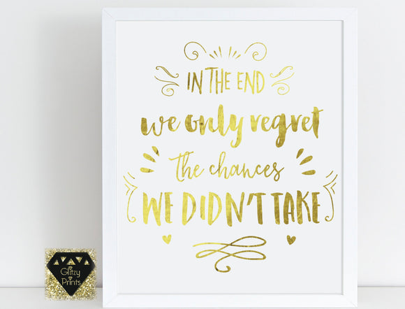 Real gold foil print / wall art gold foil print / Handwritten Font Print /Motivational Quote Print / White & Gold Print / Modern home decor