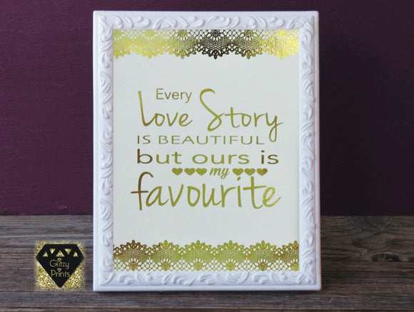 Real gold foil print / wall art gold foil / pink foil 8x10  - unframed home decor print love quote lace detail