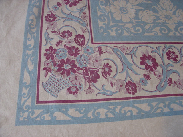 Large Magenta Pink Blue Flower Baskets Scrolls Floral Vintage Printed Tablecloth (69 X 58)