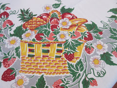 Cute Fruit Floral Baskets on Gray Vintage Printed Tablecloth (50 X 48)