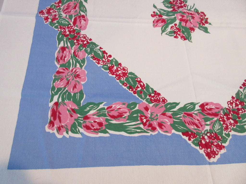Red Tulips on French Blue Topper Floral Vintage Printed Tablecloth (38 X 36)