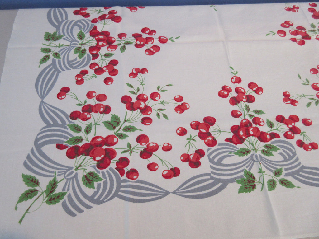 Red Cherries on Gray Ribbons Topper Fruit Vintage Printed Tablecloth (37 X 31)