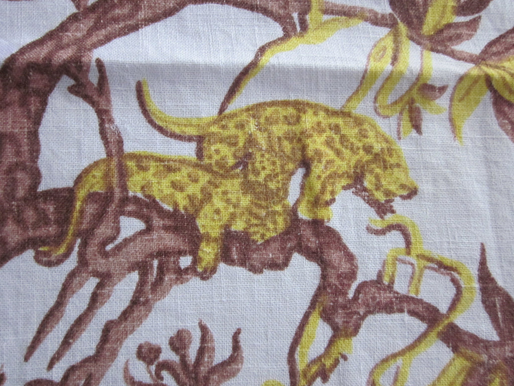 Rare 1930s Jungle Animals Linen Novelty Vintage Printed Tablecloth (51 X 48)
