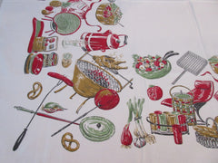 HTF Broderie Barbecue BBQ Cookout Novelty Vintage Printed Tablecloth (52 X 48)